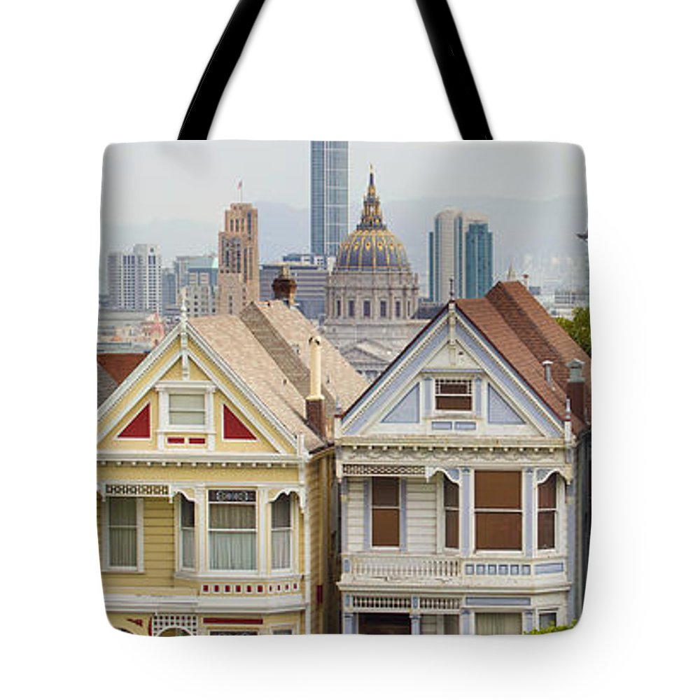 Painted Tote Bag featuring the photograph Painted Ladies Row Houses By Alamo Square by Jit Lim