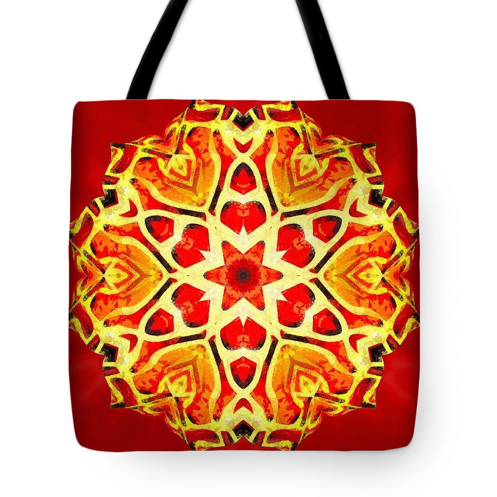 Sacredlife Mandalas Tote Bag featuring the painting Painted Lotus Xi by Derek Gedney