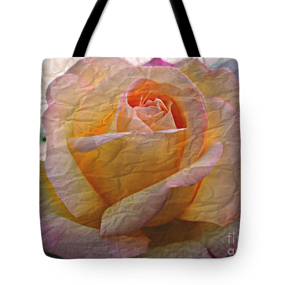 Rose Tote Bag featuring the photograph Painted Paper Rose by Judy Palkimas