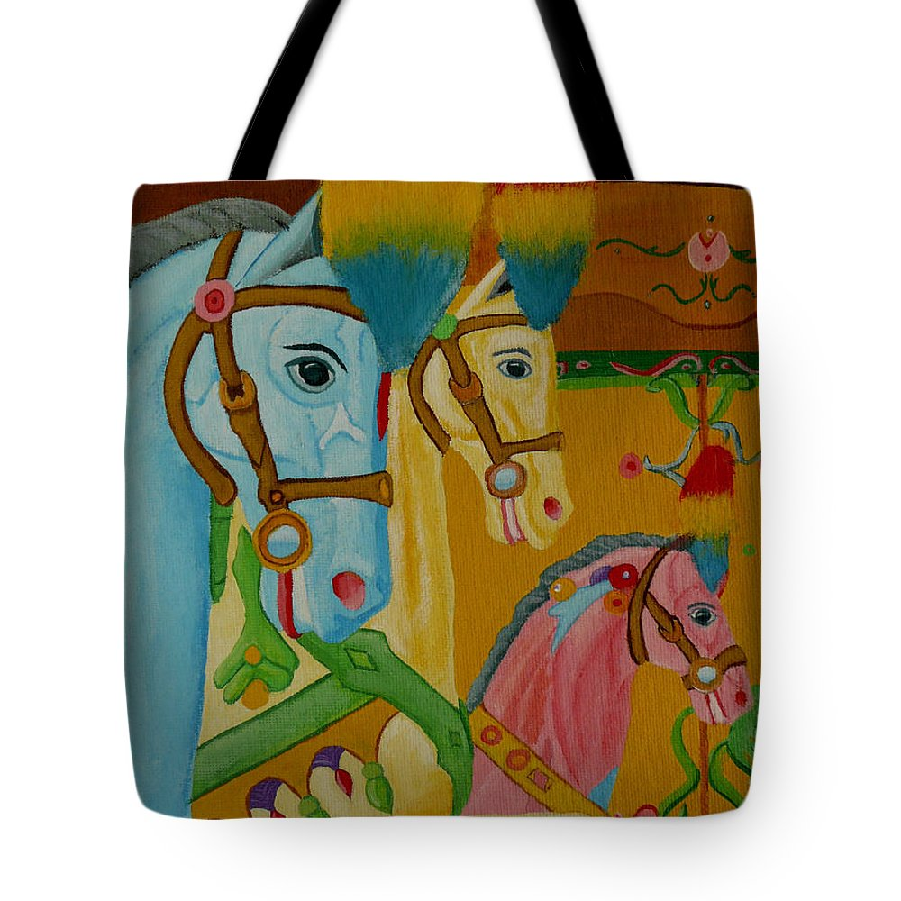 Carousel Tote Bag featuring the painting Painted Ponies by Anthony Dunphy