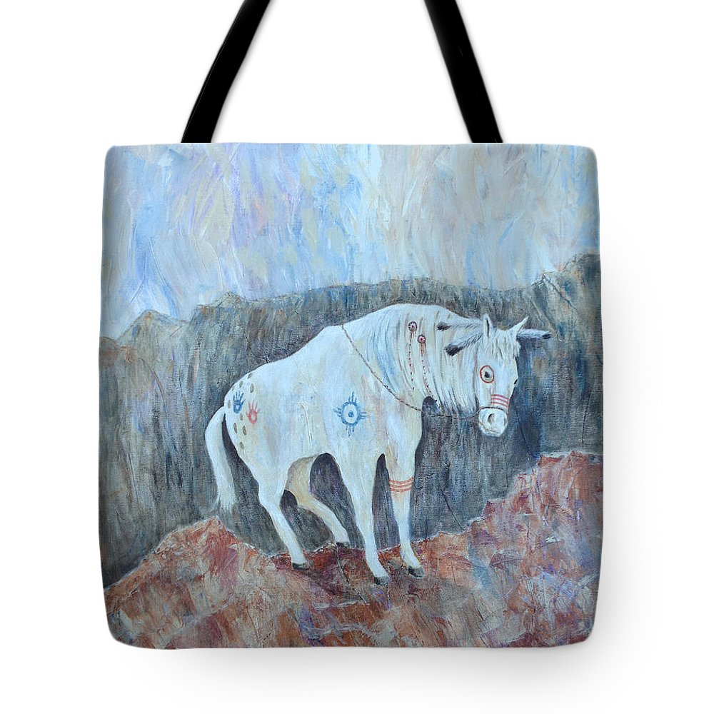 Horse Tote Bag featuring the painting Painted Pony by Mr Dill