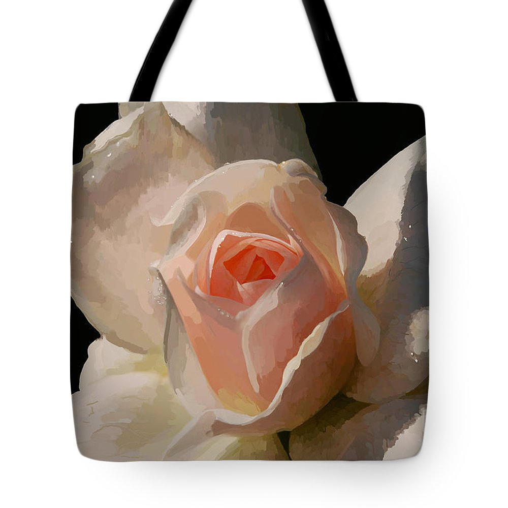 Rose Tote Bag featuring the digital art Painted Rose by Lois Bryan