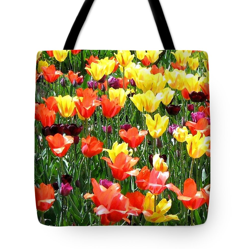 Painted Sunlit Tulips Tote Bag featuring the digital art Painted Sunlit Tulips by Will Borden