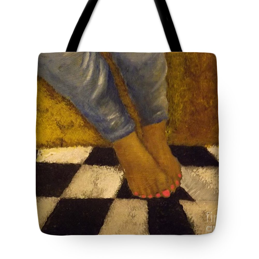 Painted Toes Tote Bag featuring the painting Painted Toe Nails by Gr B
