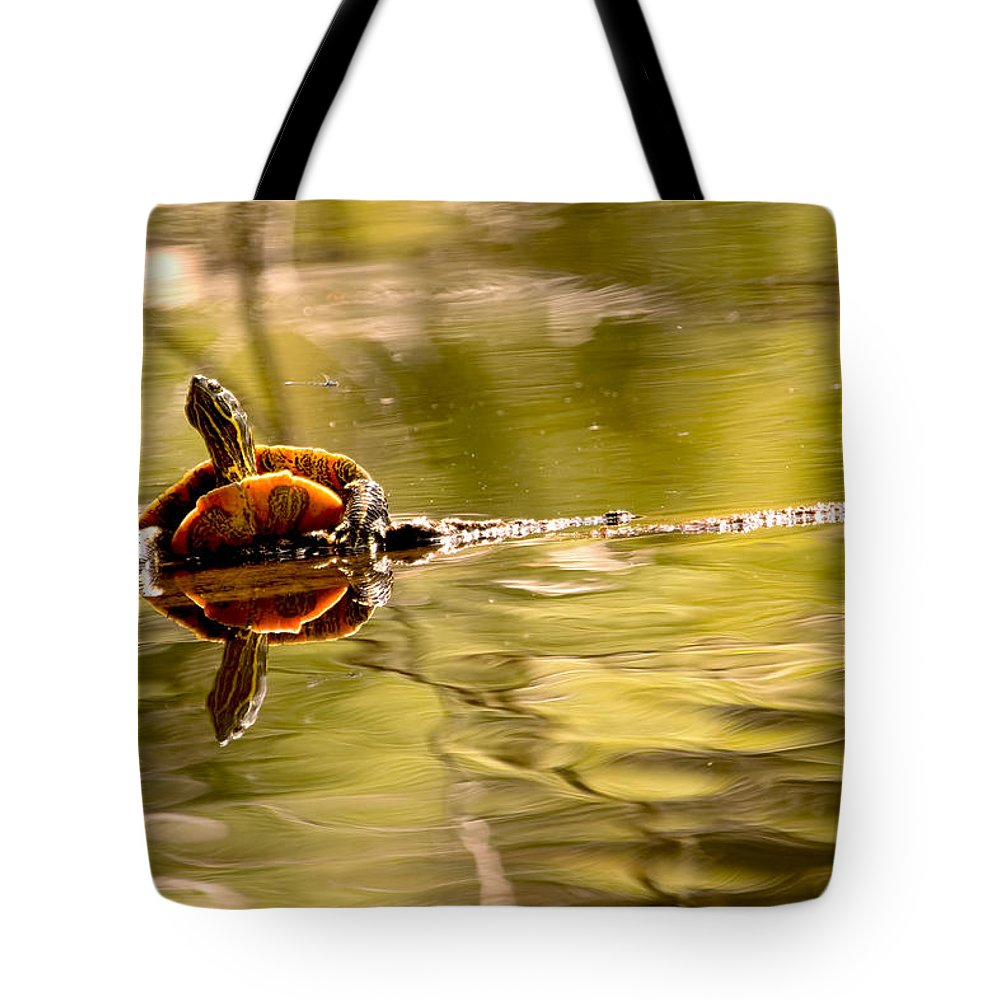 Turtle Tote Bag featuring the photograph Painted Turtle by Peggy Collins