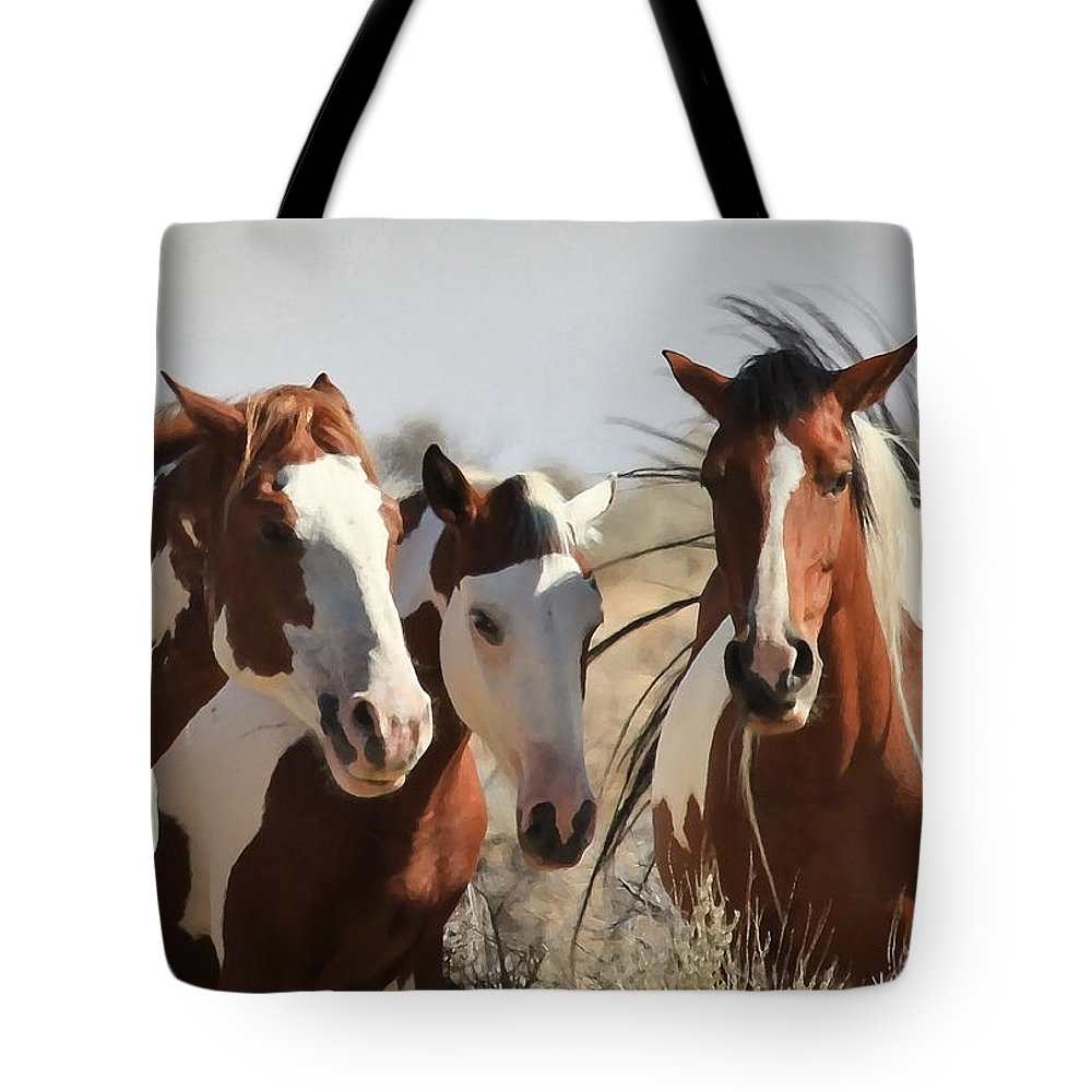 Horses Tote Bag featuring the photograph Painted Wild Horses by Athena Mckinzie