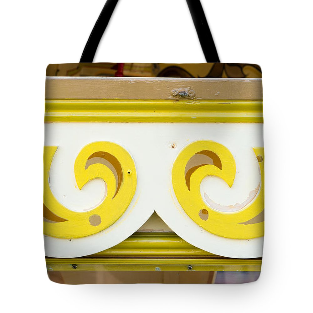 Artwork Tote Bag featuring the photograph Painted Wood Pattern by Tom Gowanlock