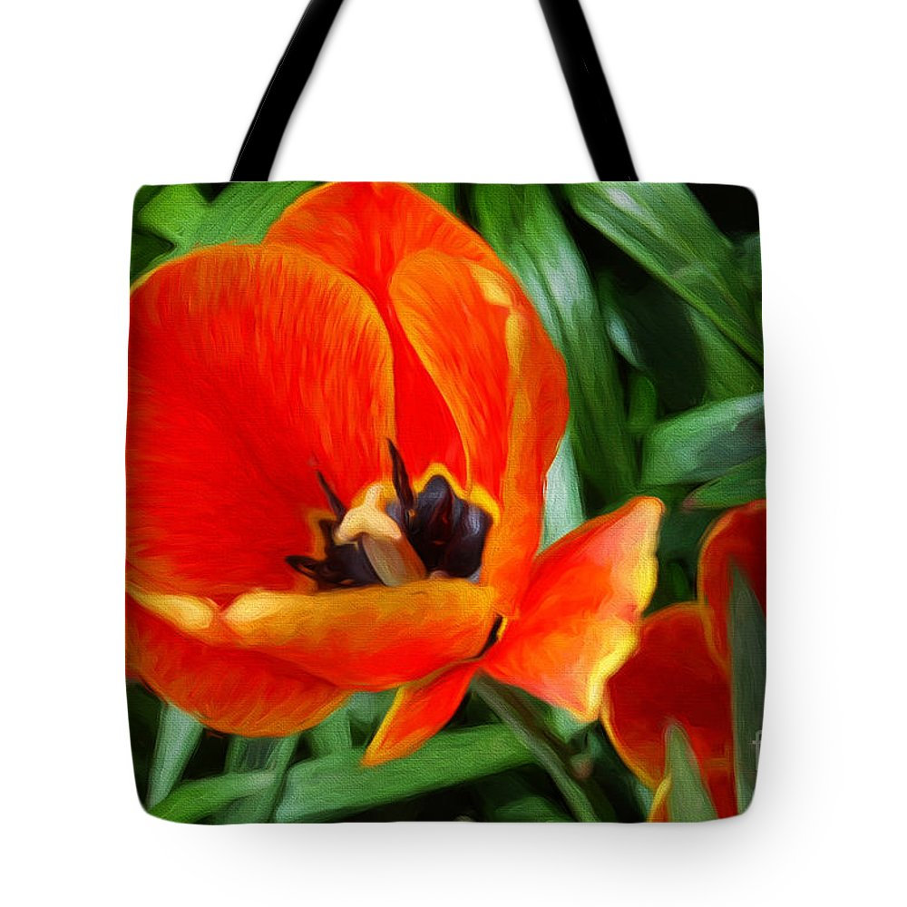 Andee Design Tulip Tote Bag featuring the photograph Painterly Red Tulips by Andee Design
