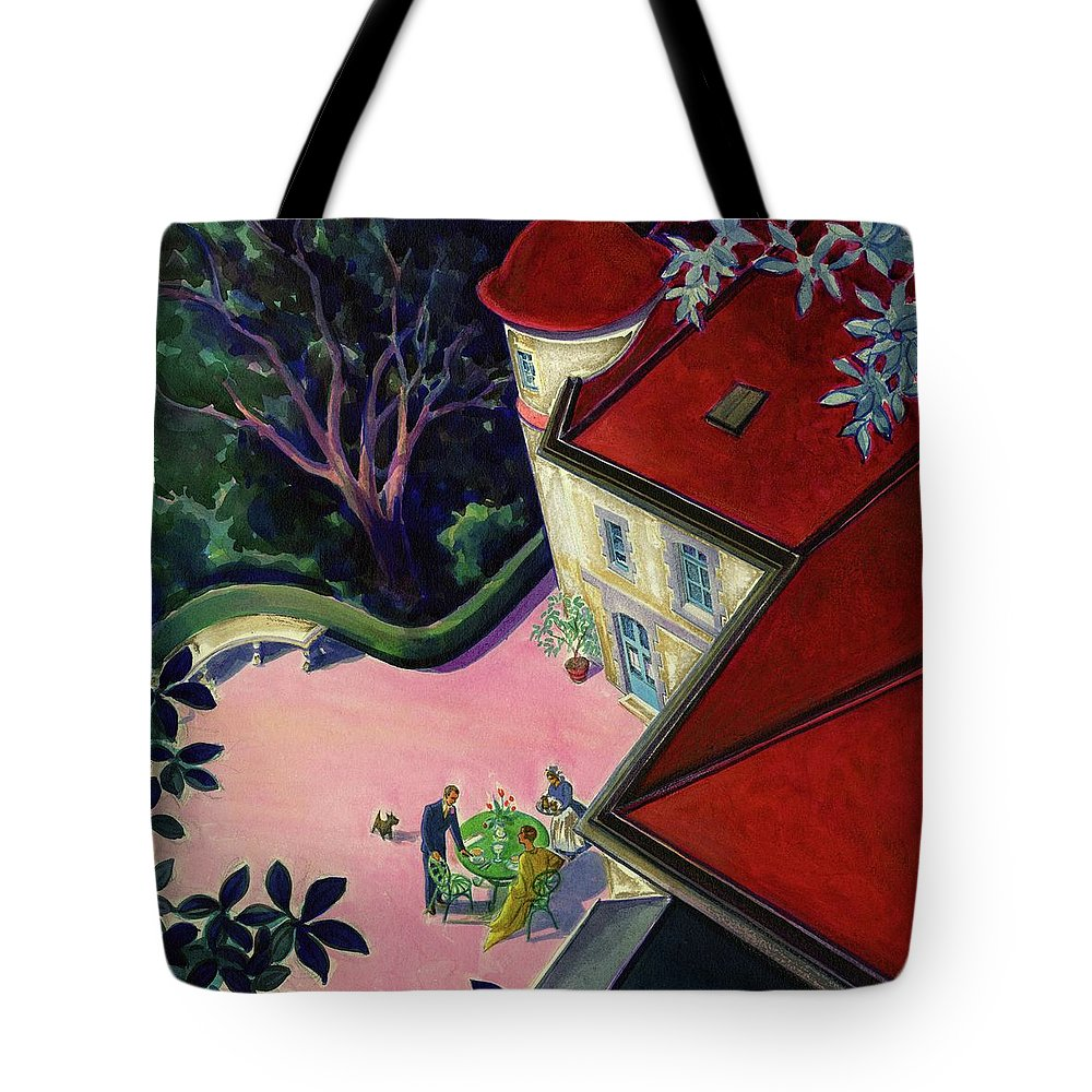 Exterior Tote Bag featuring the digital art Painting Of A House With A Patio by Walter Buehr