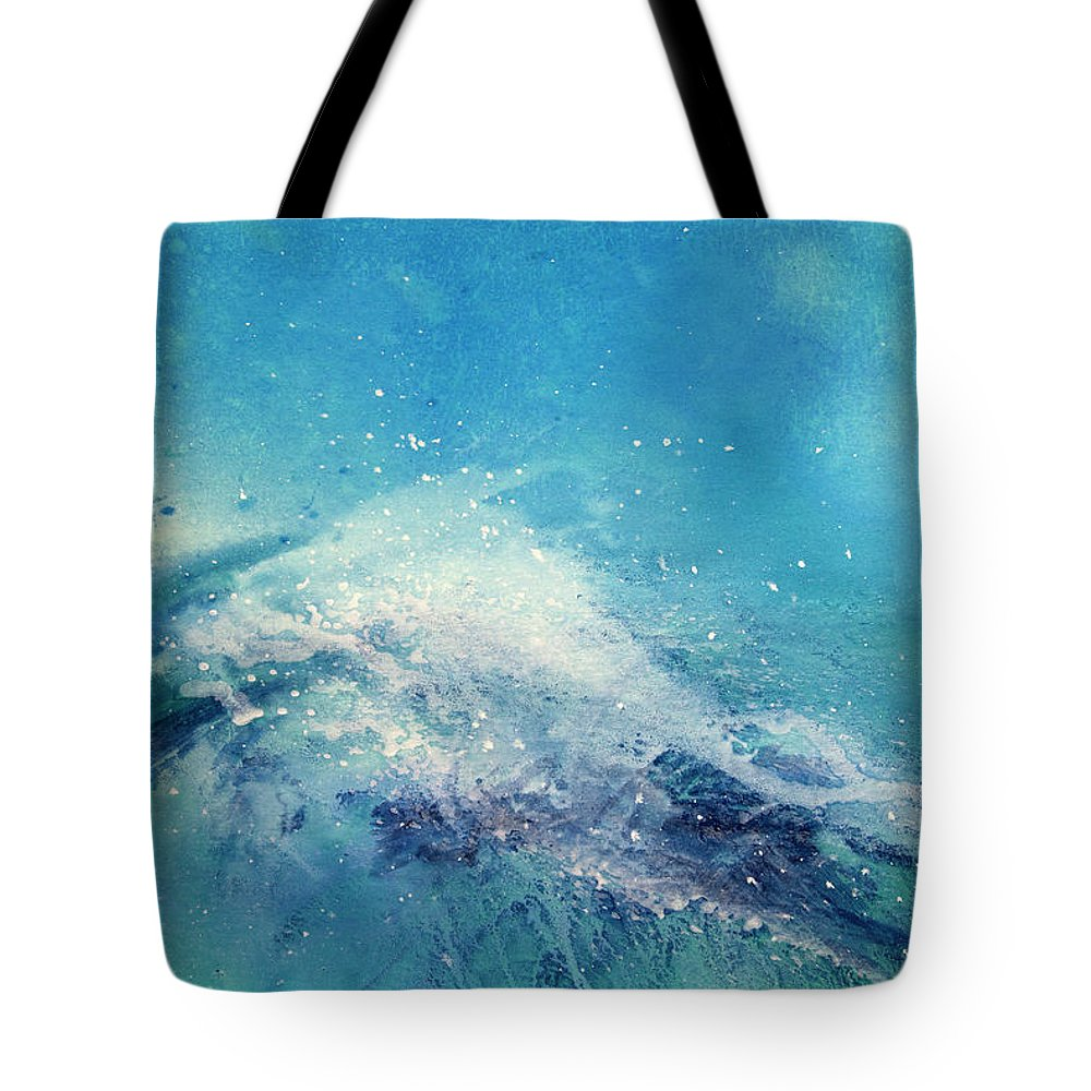 Gouache Tote Bag featuring the digital art Painting Of An Ocean Wave by Brad Rickerby