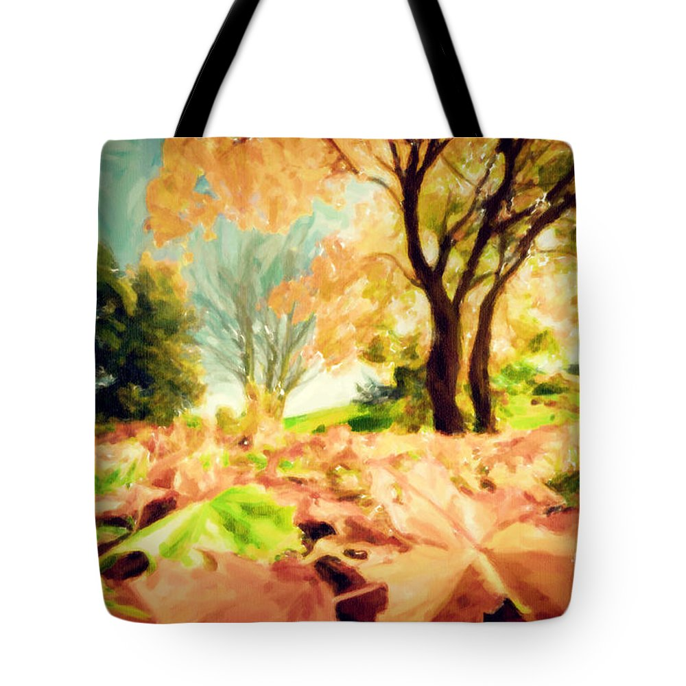 Autumn Tote Bag featuring the photograph Painting Of Autumn Fall Landscape In Park by Michal Bednarek