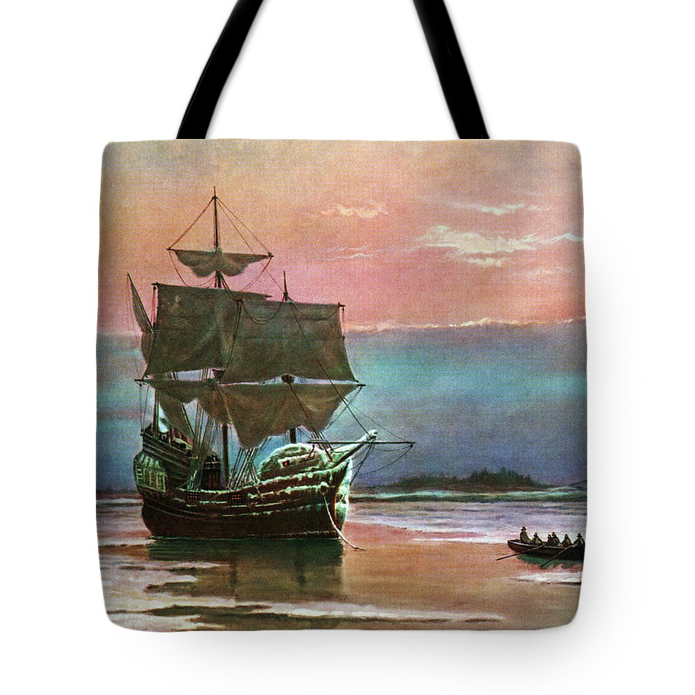Horizontal Tote Bag featuring the painting Painting Of The Ship The Mayflower 1620 by Vintage Images