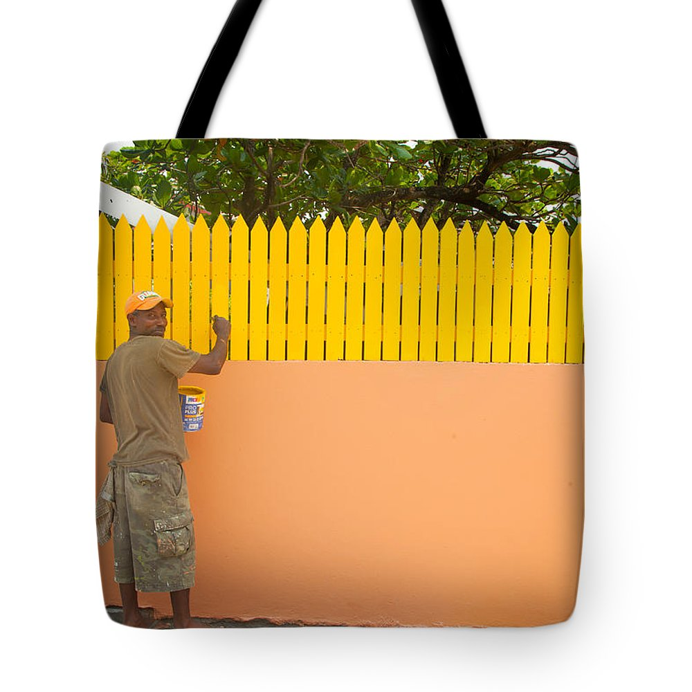 Roatan Tote Bag featuring the photograph Painting The Fence by Susan Rovira