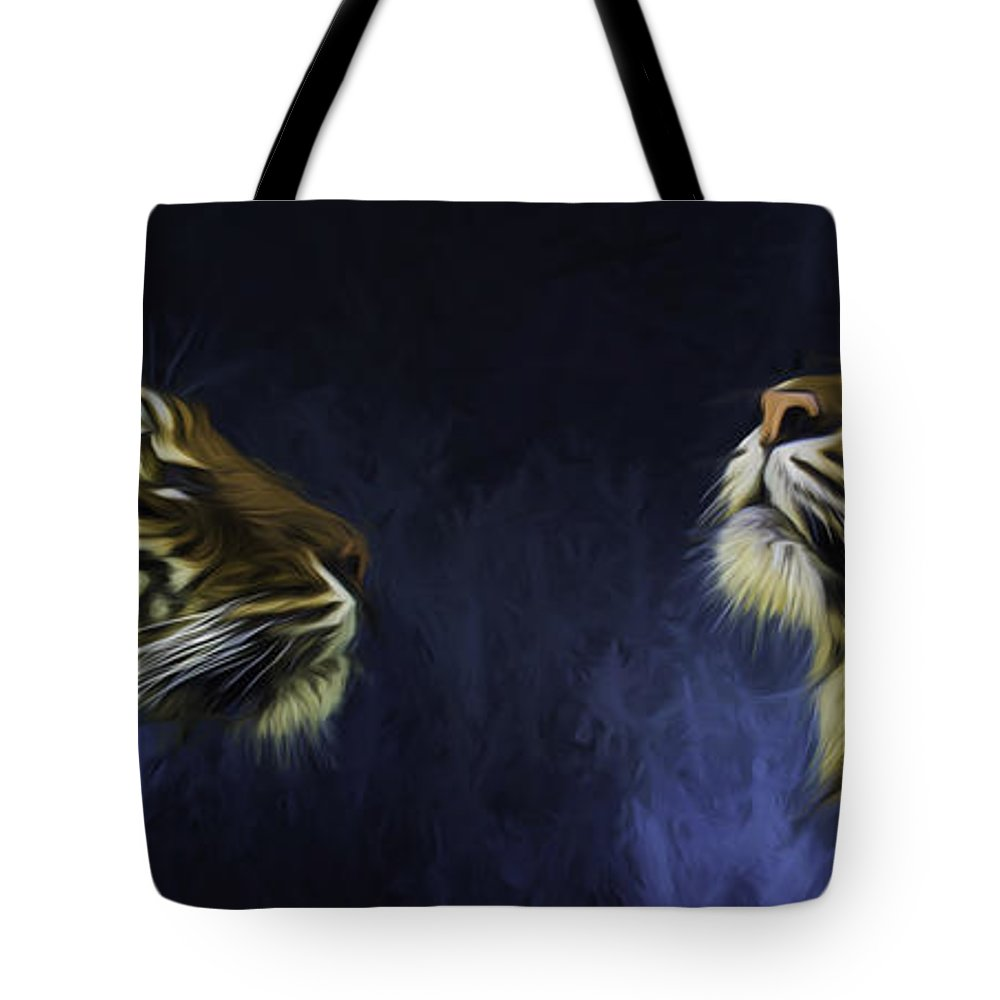 Big Cats Tote Bag featuring the photograph Pair Of Sumatran Tigers by Sheila Smart Fine Art Photography