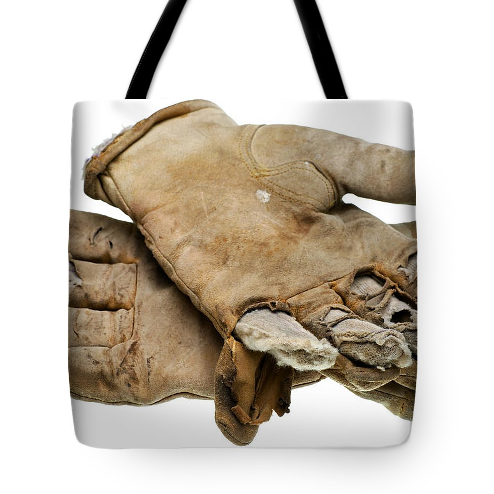 Leather work gloves sale - Pair Tote Bag Featuring The Photograph Pair Of Worn Out Leather Work Gloves By Donald Erickson