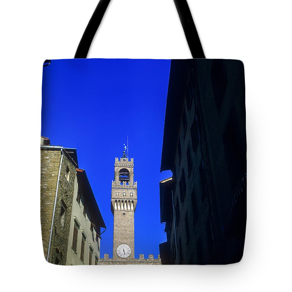 Palazzo Vecchio Florence Italy Towers City Cities Florence Clock Tower Architecture Building Buildings Structure Structures Cityscape Cityscapes Tote Bag featuring the photograph Palazzo Vecchio Clock Tower by Bob Phillips