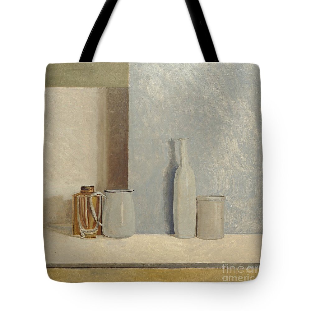 Still Life Tote Bag featuring the painting Pale Grey And Blue by William Packer