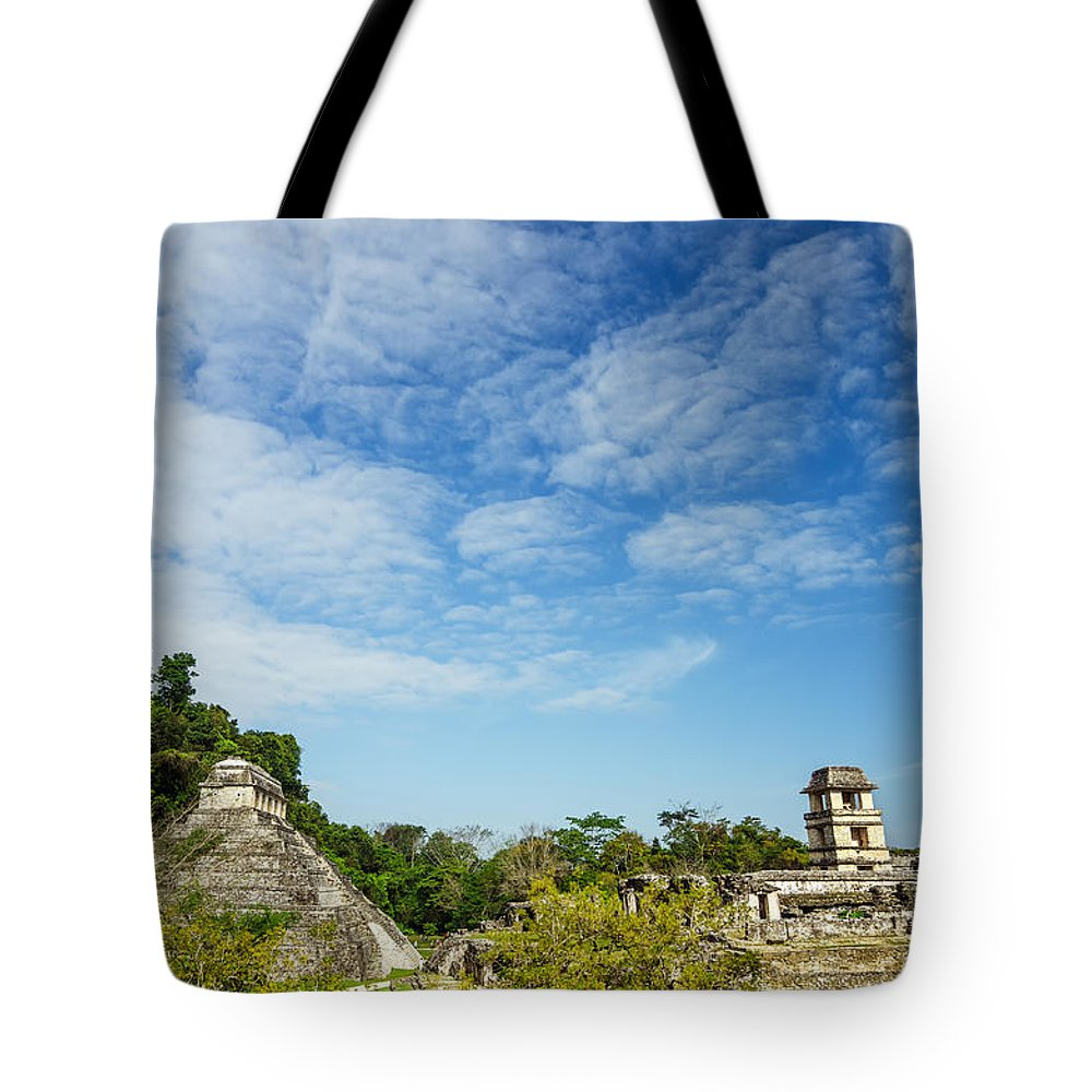Palenque Tote Bag featuring the photograph Palenque Temples by Jess Kraft
