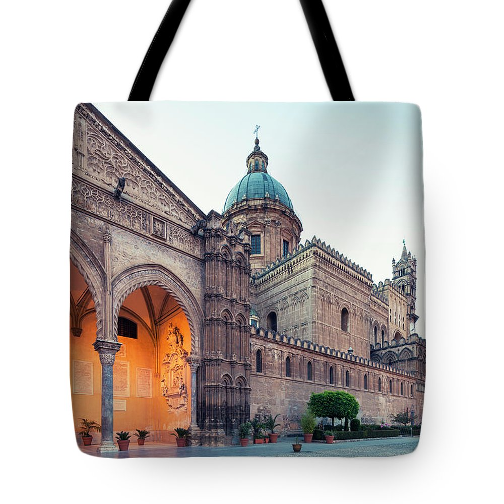 Saturated Color Tote Bag featuring the photograph Palermo Cathedral At Dusk, Sicily Italy by Romaoslo