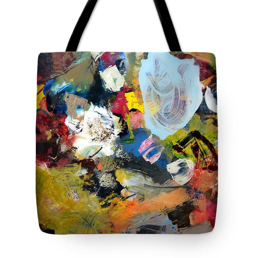 Rustic Tote Bag featuring the painting Palette Abstract by Michelle Calkins
