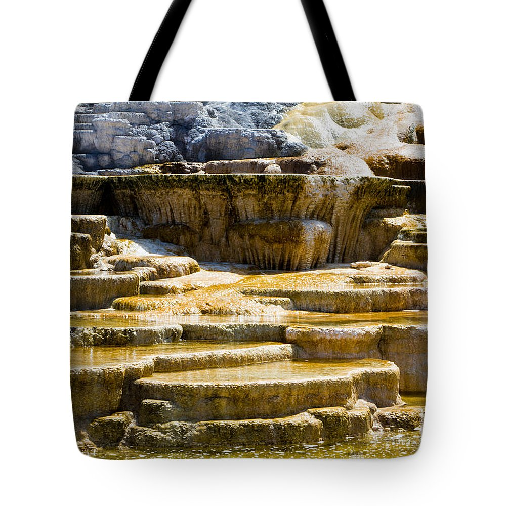 Hot Spring Terraces Tote Bag featuring the photograph Palette Spring 2 Yellowstone National Park Wy by Dan Hartford