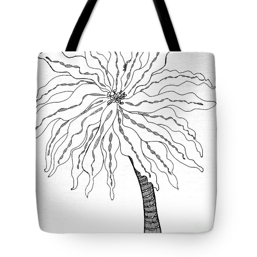 Palm Tote Bag featuring the drawing Palm by Anita Lewis