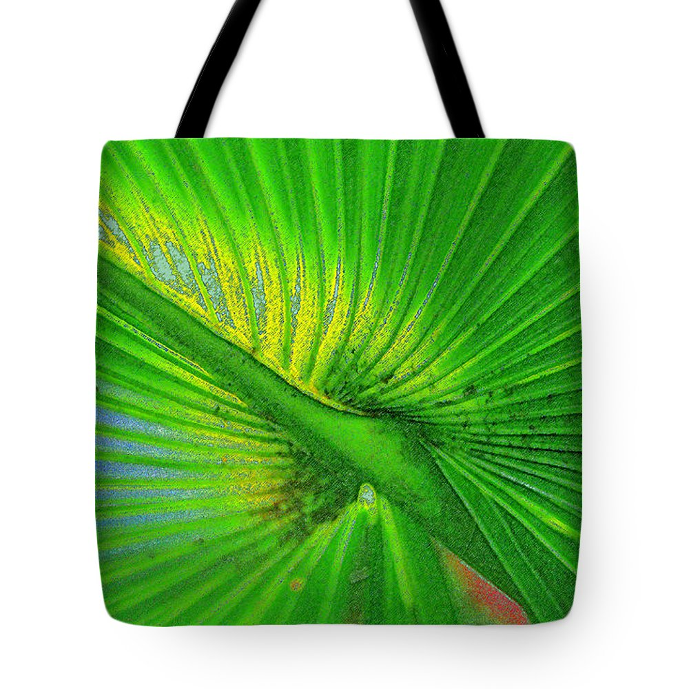 Palm Frond Tote Bag featuring the painting Palm Frond Work A by David Lee Thompson