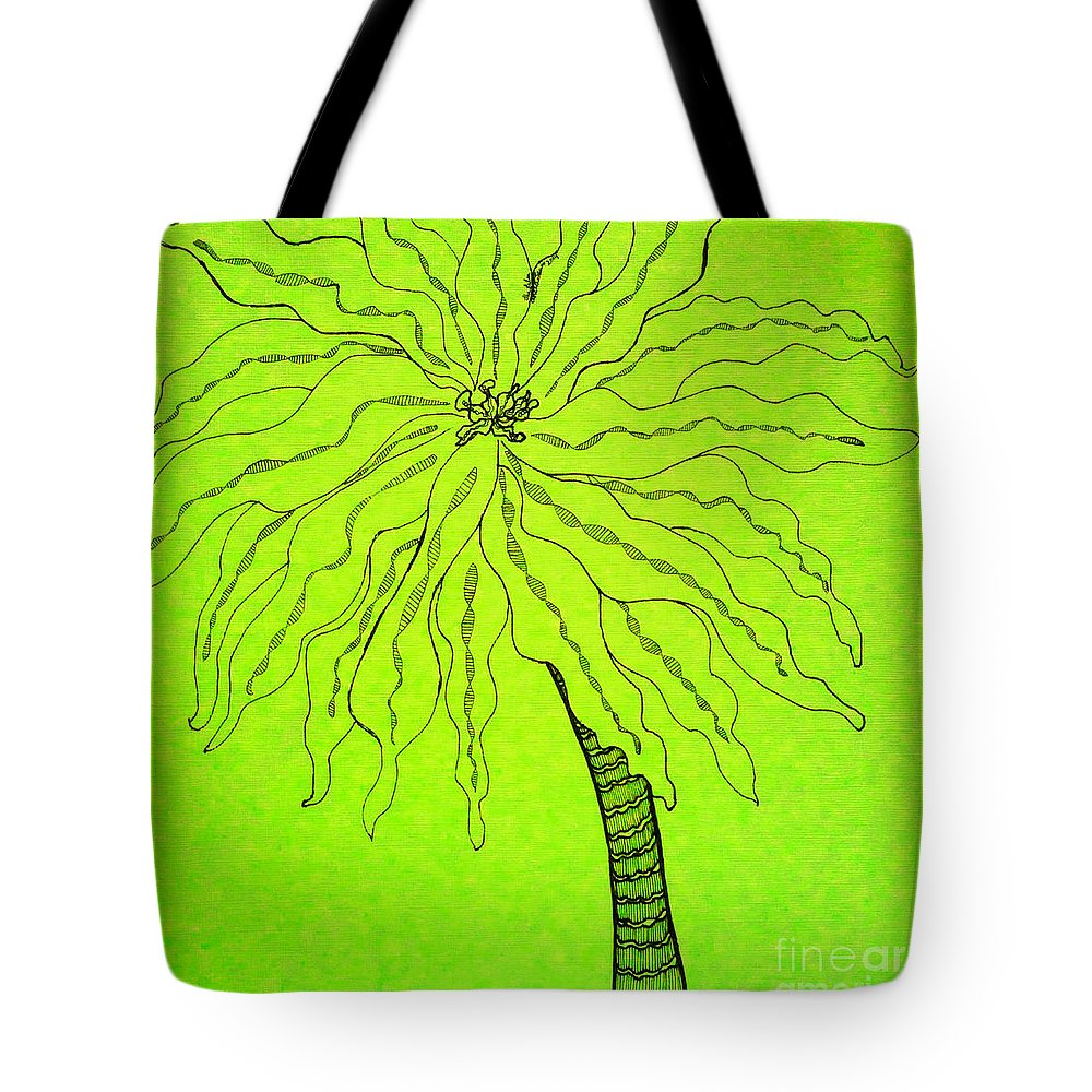 Palm Green Tote Bag featuring the drawing Palm Green by Anita Lewis