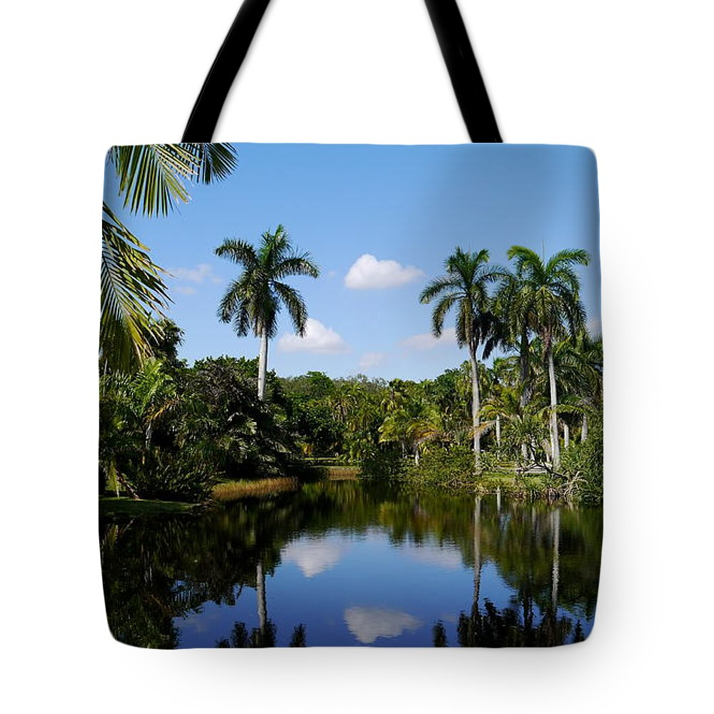 Palm Tote Bag featuring the photograph Palm Reflection And Shadow by Christiane Schulze Art And Photography
