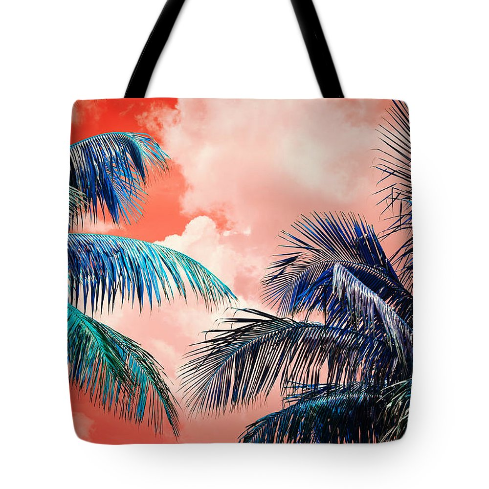 Palmtrees Tote Bag featuring the photograph Palmscape Red by Laura Fasulo