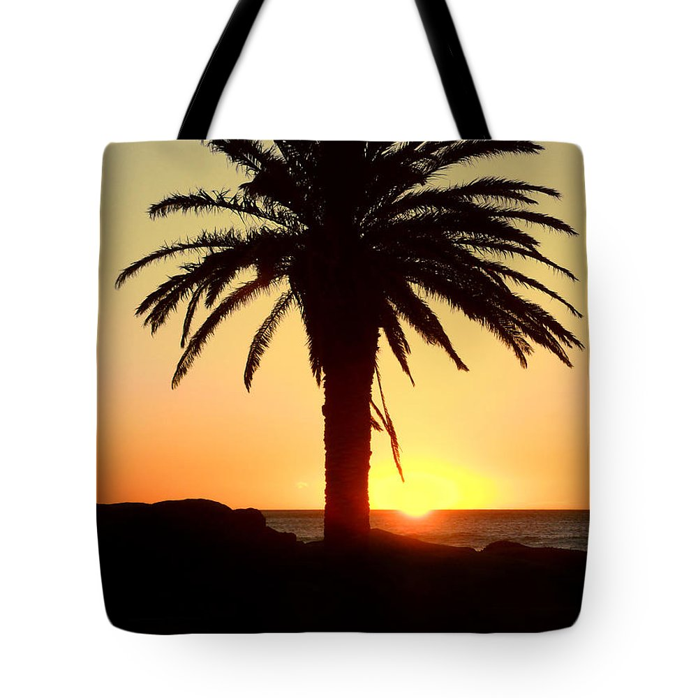 Background Tote Bag featuring the photograph Palm Sunset by Paul Fell
