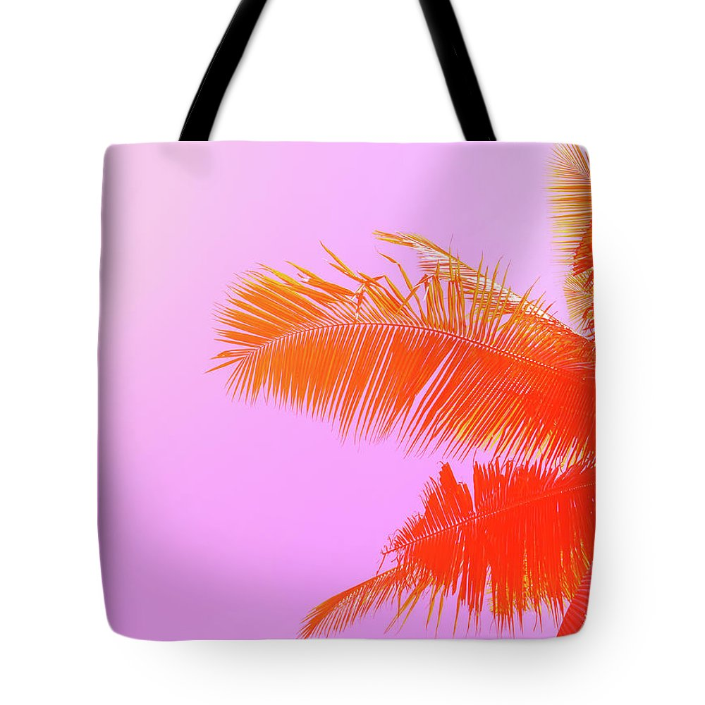 Orange Color Tote Bag featuring the photograph Palm Tree On Sky Background. Palm Leaf by Slavadubrovin