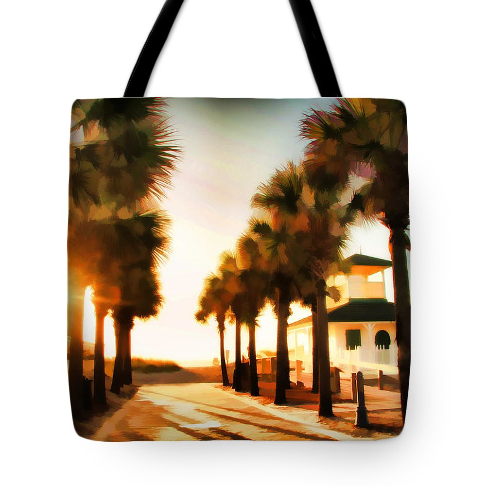 Palm Tree Florida Sunrise Jacksonville Beach Entrance Tote Bag featuring the photograph Palm Tree Sunrise by Alice Gipson