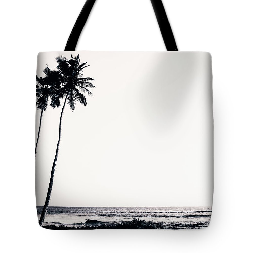 Empty Tote Bag featuring the photograph Palm Trees And Beach Silhouette by Chrispecoraro