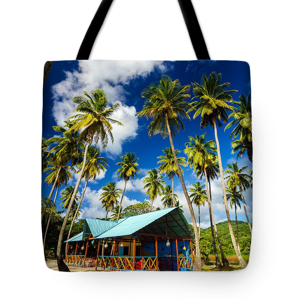 Bay Tote Bag featuring the photograph Palm Trees And Colorful Building by Jess Kraft
