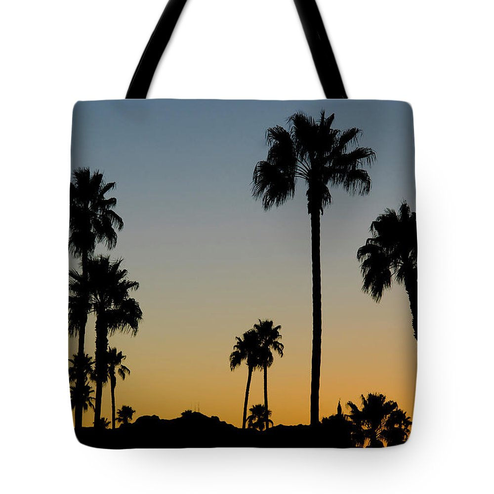 Scenics Tote Bag featuring the photograph Palm Trees At Sunset by Chapin31