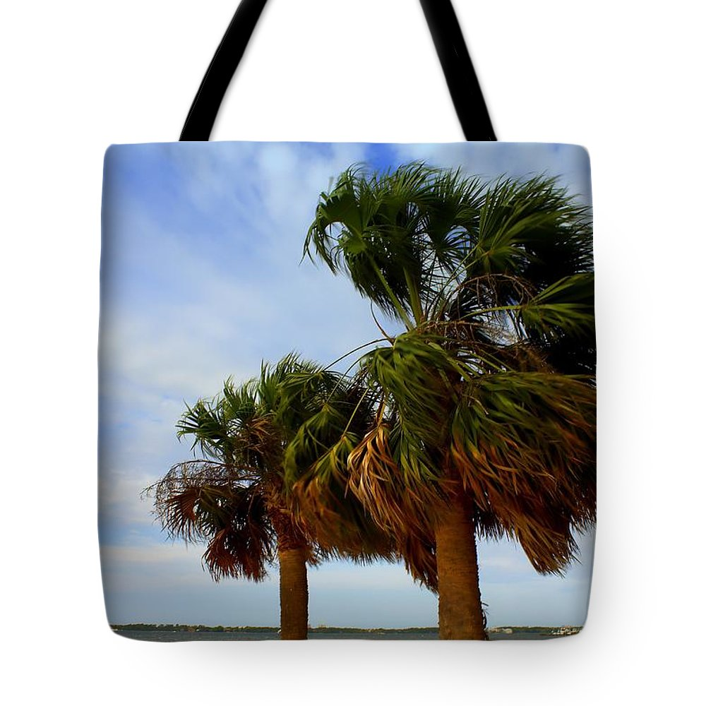 Palm Trees Tote Bag featuring the photograph Palm Trees In The Wind by Debra Forand