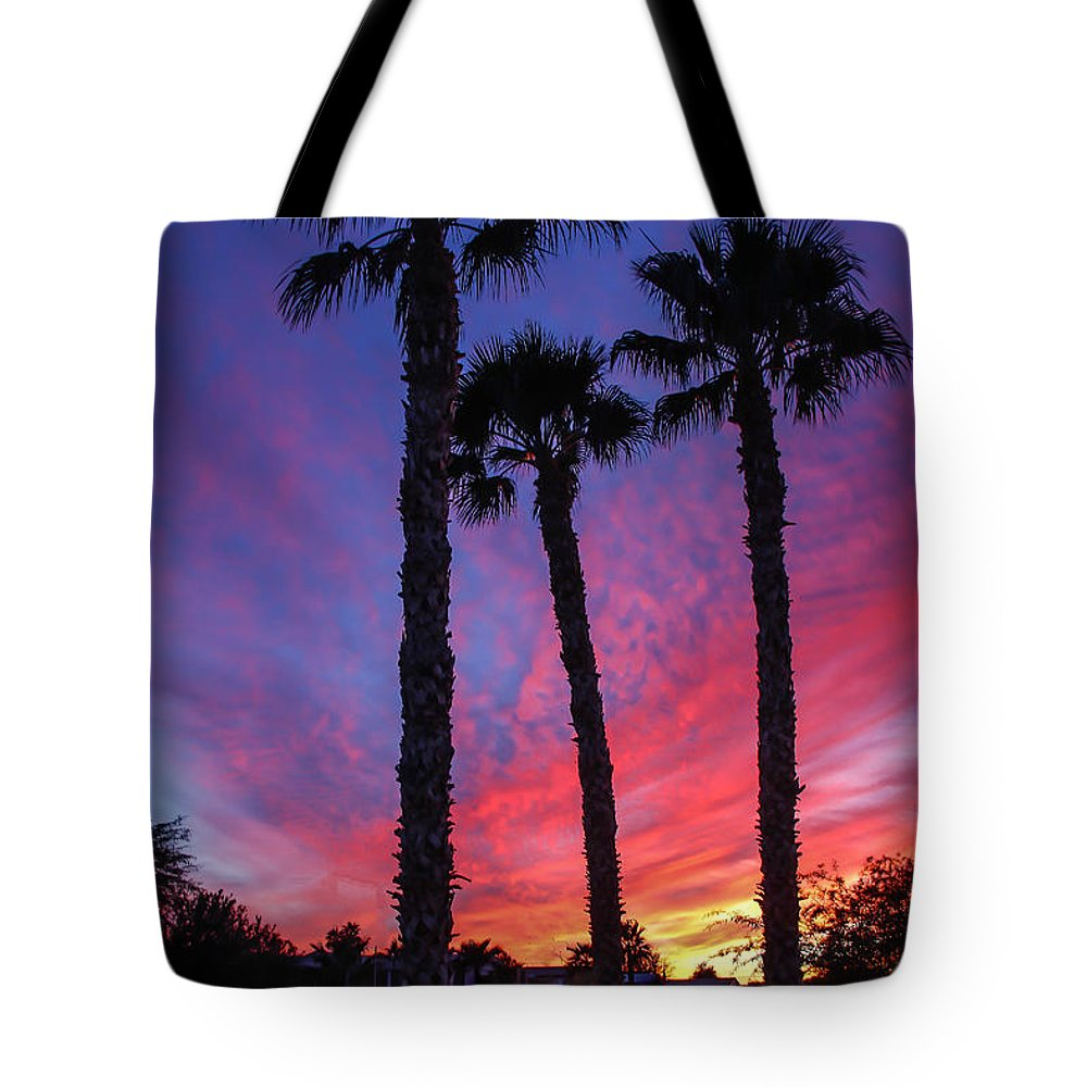 Sunrise Tote Bag featuring the photograph Palm Trees Sunset by Robert Bales