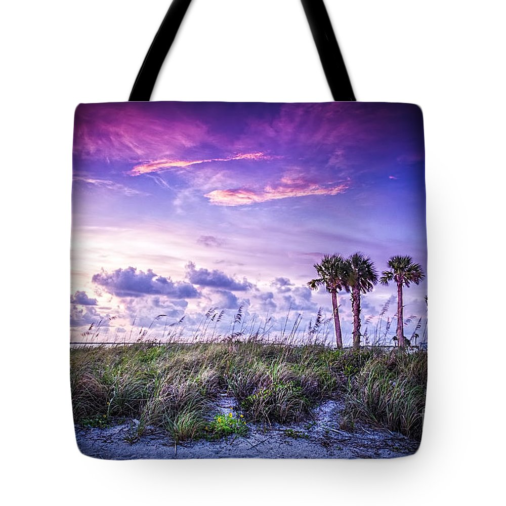 Palm Trees Tote Bag featuring the photograph Palms On The Beach by Marvin Spates