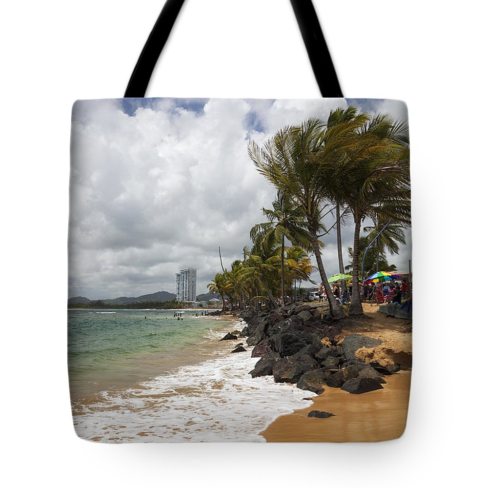 Idyllic Tote Bag featuring the photograph Palms Trees Along Luquillo Beach by Bryan Mullennix
