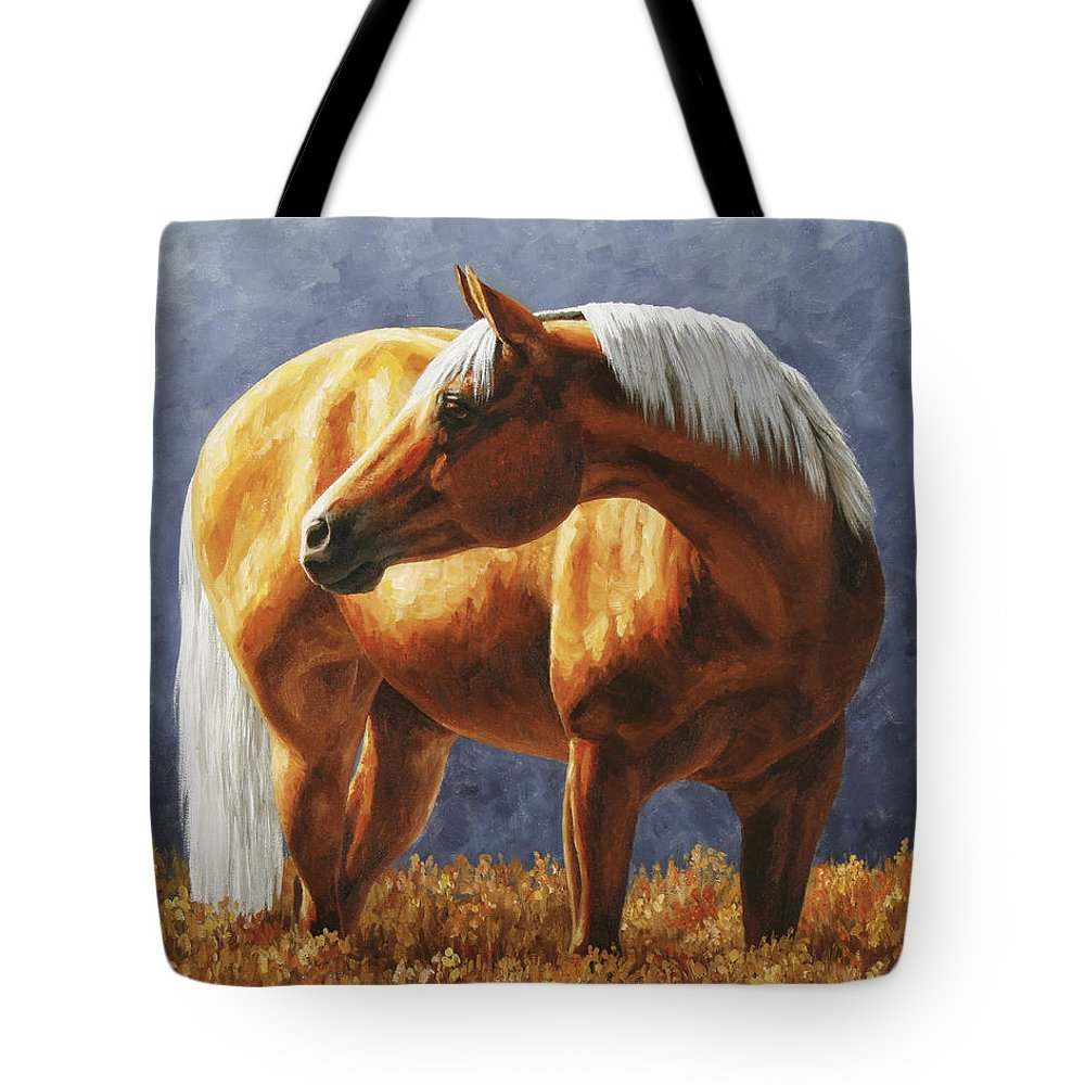 Horse Tote Bag featuring the painting Palomino Horse - Gold Horse Meadow by Crista Forest