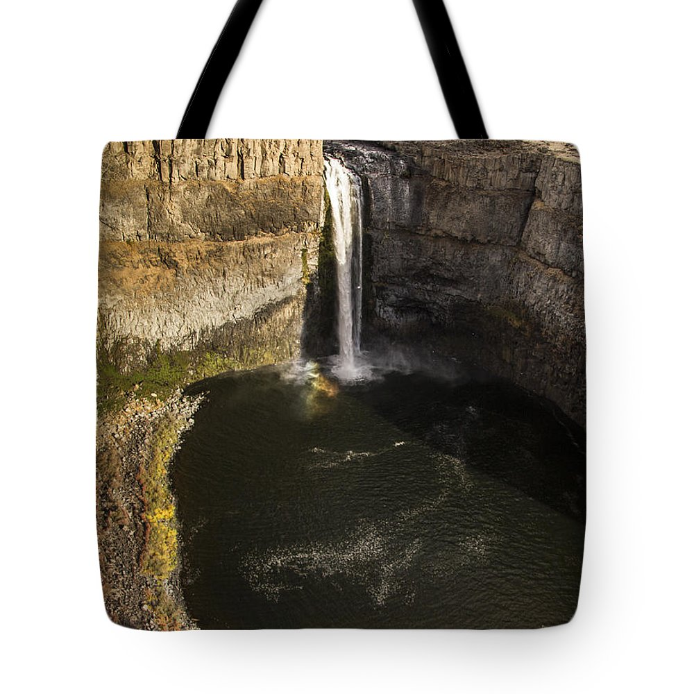 Palouse Falls Tote Bag featuring the photograph Palouse Falls With Rainbow by Jean Noren