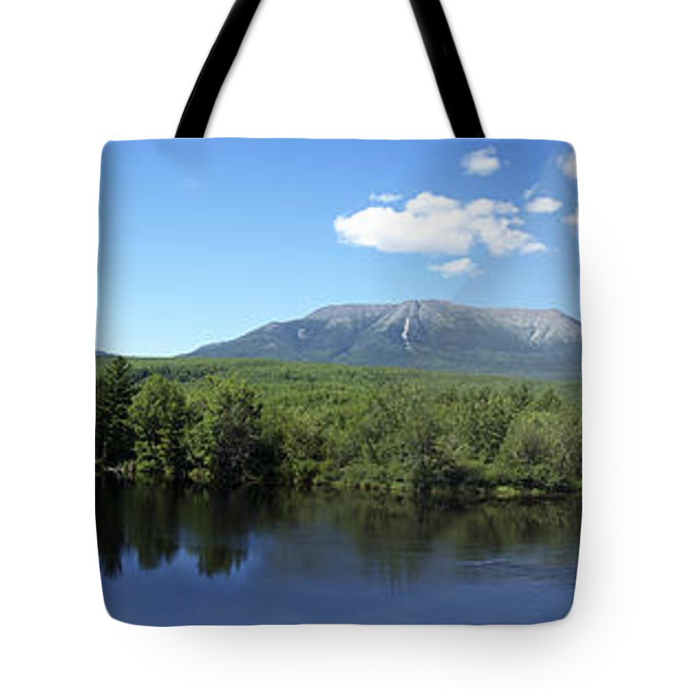 West Branch Tote Bag featuring the photograph Pan Of Katahdin From Abol Bridge by Georgia Hamlin