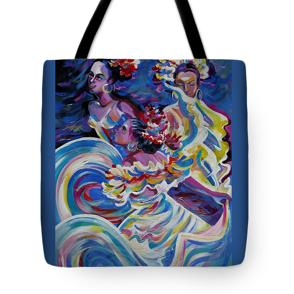 Carnival Tote Bag featuring the painting Panama Carnival. Folk Dancers by Anna Duyunova