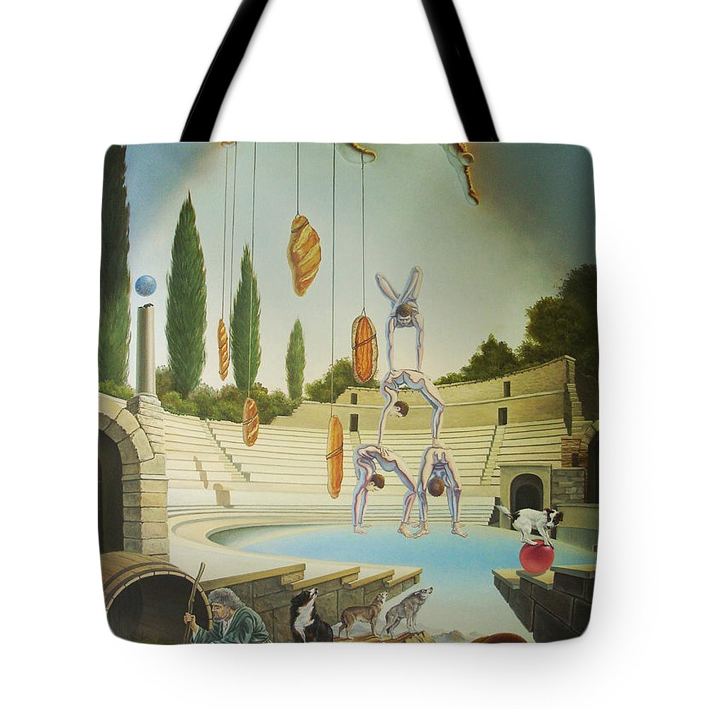 Art Tote Bag featuring the painting Pane Et Circenses by Gyuri Lohmuller
