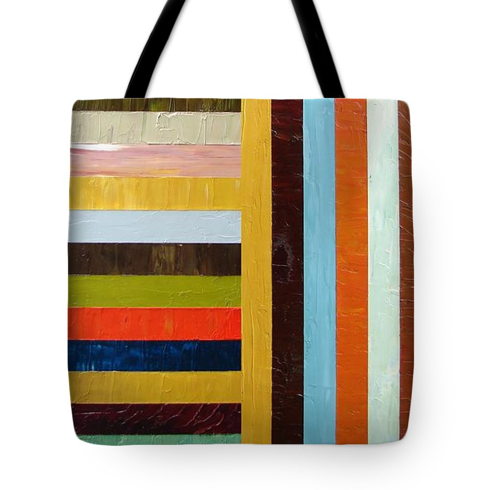 Original Art Tote Bag featuring the painting Panel Abstract L by Michelle Calkins