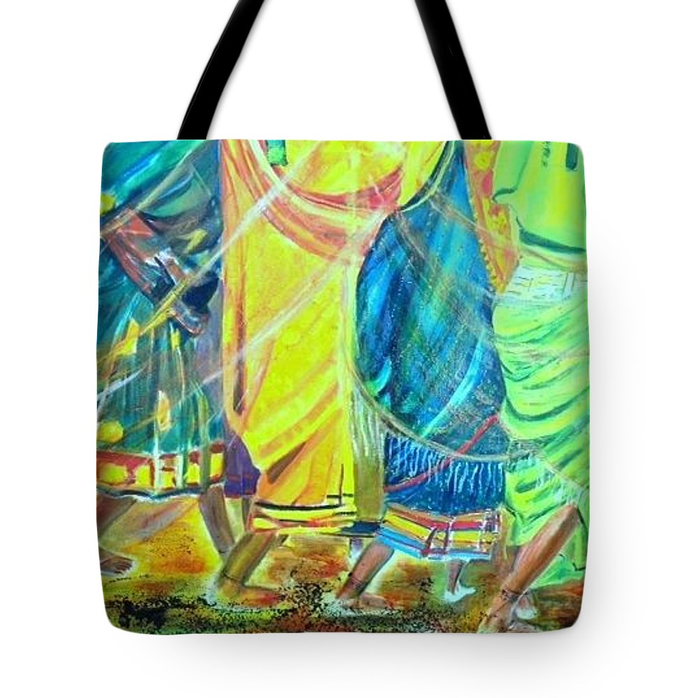 Women Walking Tote Bag featuring the painting Panjim by Peggy Blood