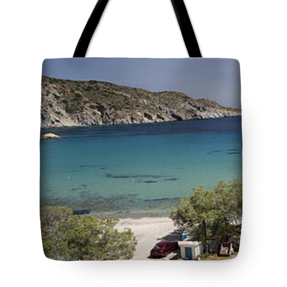 Touristic Tote Bag featuring the photograph Panorama Of Mandrakia Fishing Village Milos Greece by David Smith