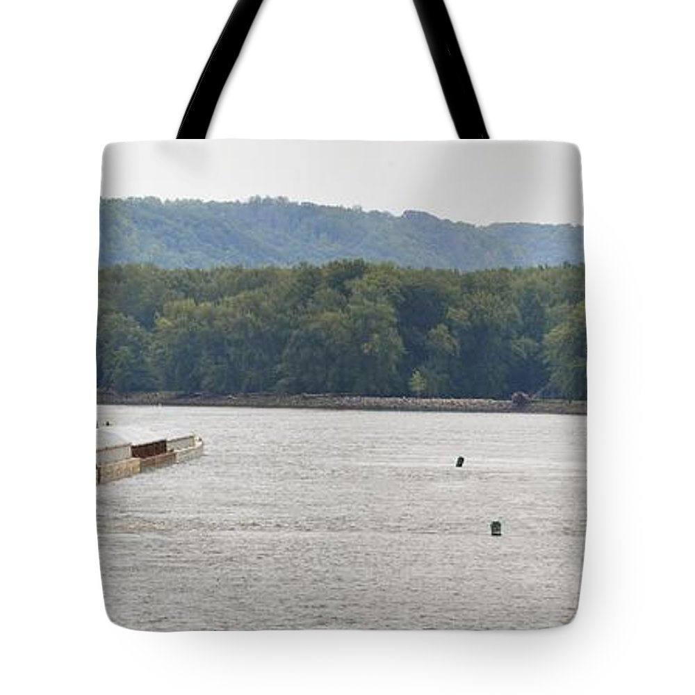 Barge Tote Bag featuring the photograph Panoramic Barge by Bonfire Photography