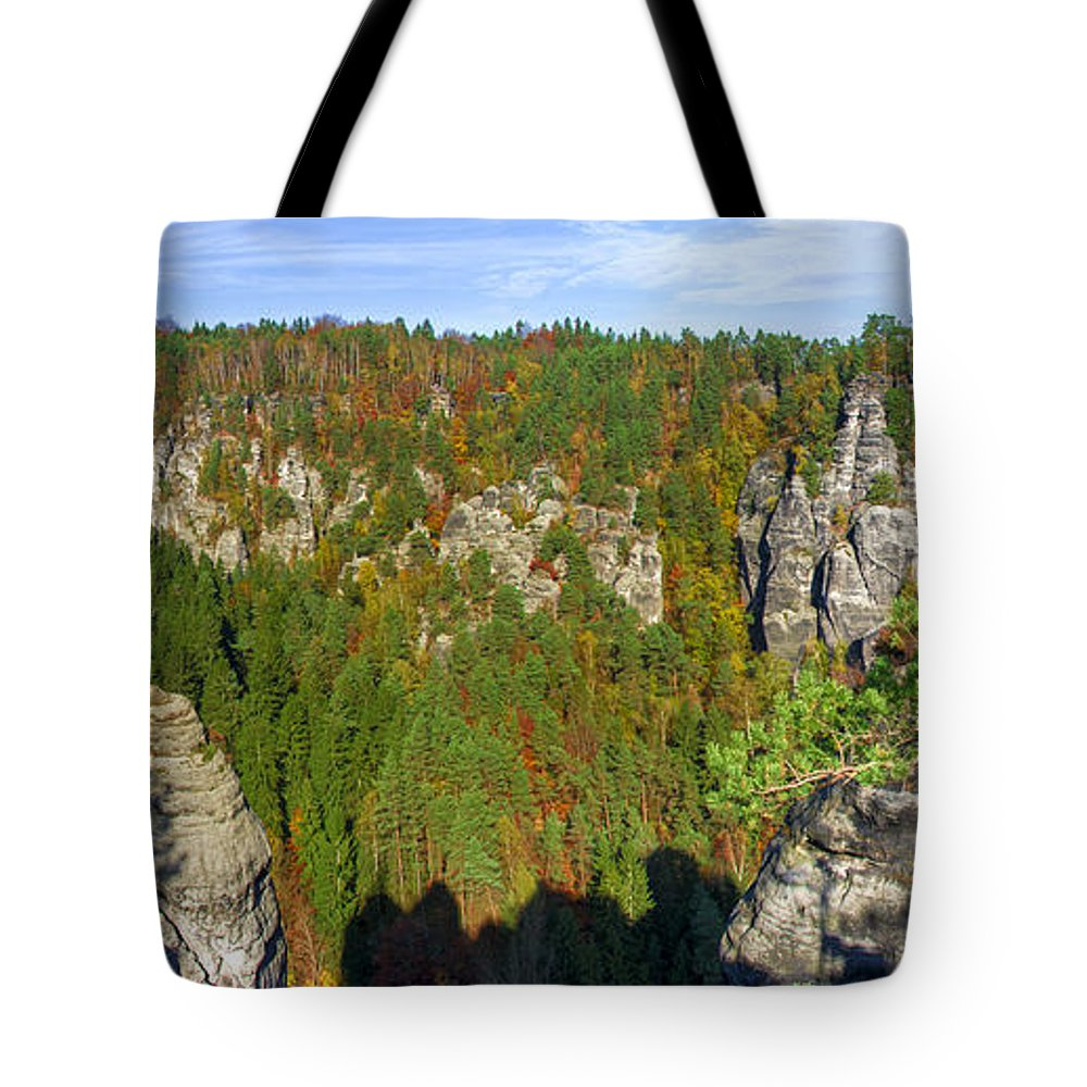 Germany Tote Bag featuring the photograph Panoramic View Of The Elbe Sandstone Mountains by Sun Travels